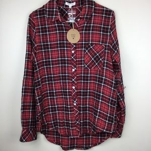 Honey Punch M Plaid Button Up Long Sleeve Shirt